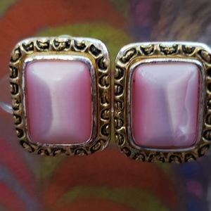 Lovely Pink Stone Clip On Earrings